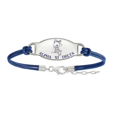 jcpenney.com | Alpha Xi Delta Sterling Silver Enameled Leather Bracelet