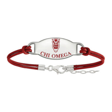 jcpenney.com | Chi Omega Enameled Sterling Silver Oval Leather Bracelet