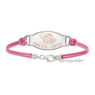 jcpenney.com | Delta Zeta Enameled Sterling Silver Oval Leather Bracelet