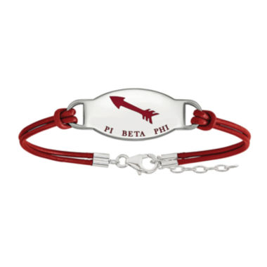 jcpenney.com | Pi Beta Phi Enameled Sterling Silver Oval Leather Bracelet