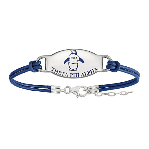 Theta Phi Alpha Enameled Sterling Silver Leather Bracelet