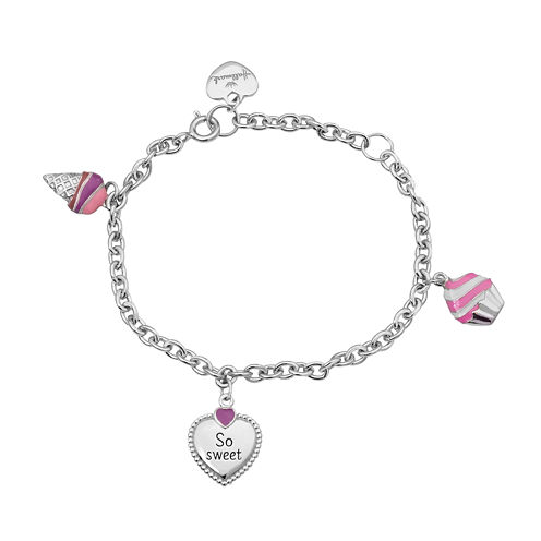 "Hallmark Kids Sterling Silver Enamel ""So Sweet"" Charm Bracelet"