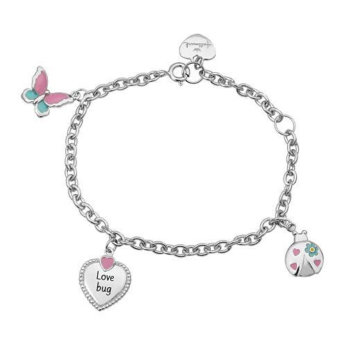 "Hallmark Kids Sterling Silver Enamel ""Love Bug"" Charm Bracelet"
