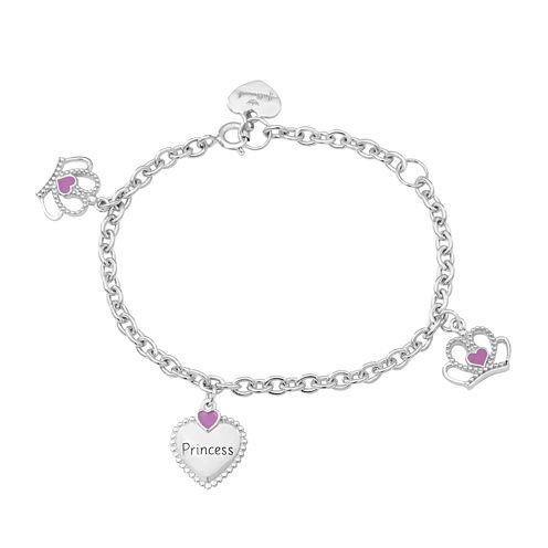 "Hallmark Kids Sterling Silver Enamel ""Princess"" Charm Bracelet"