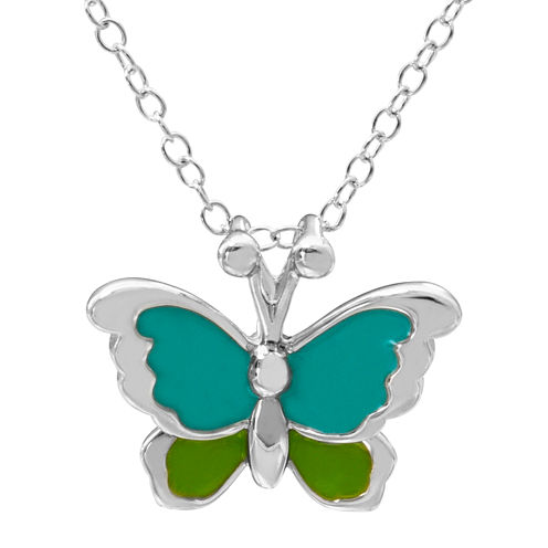 Hallmark Kids Sterling Silver Enamel Butterfly Pendant Necklace
