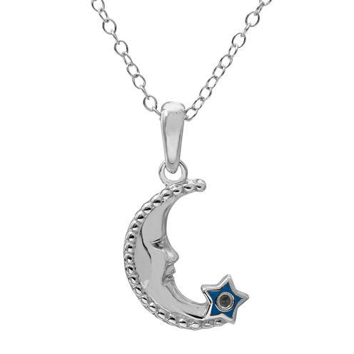 Hallmark Kids Sterling Silver Enamel Diamond Accent Moon Pendant Necklace