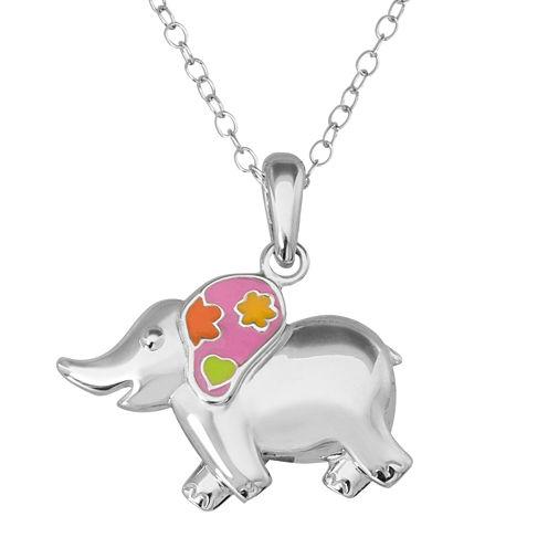 Hallmark Kids Sterling Silver Enamel Elephant Pendant Necklace