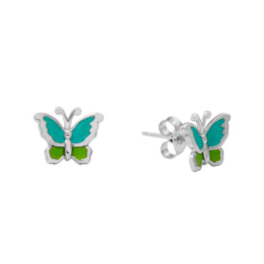 jcpenney.com | Hallmark Kids Sterling Silver Enamel Butterfly Stud Earrings