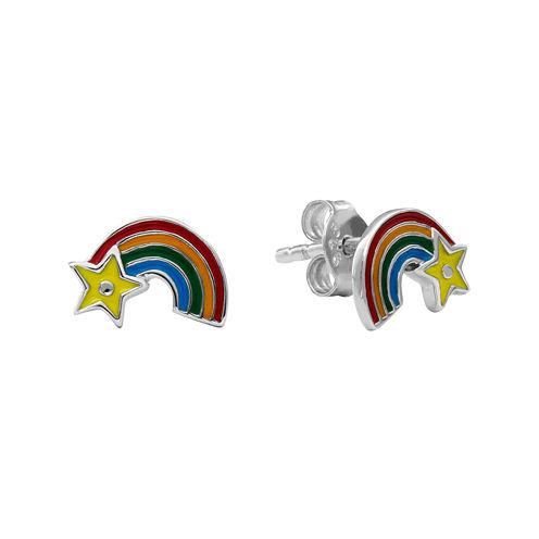 Hallmark Kids Sterling Silver Enamel Rainbow Stud Earrings