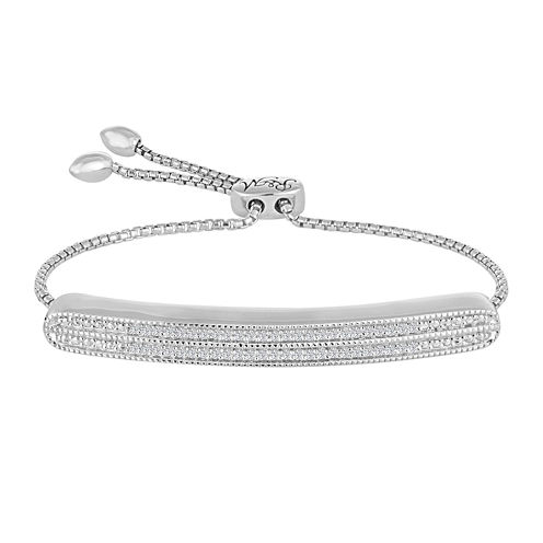 Rhythm and Muse 1/10 CT. T.W. Diamond Double Row Sterling Silver Bracelet