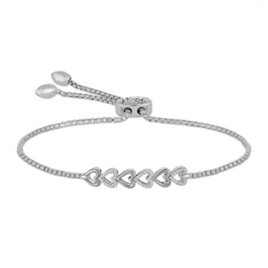 jcpenney.com | Rhythm and Muse 1/10 CT. T.W. Diamond Sterling Silver Heart Bolo Bracelet