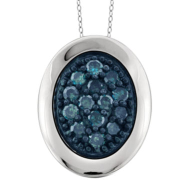 jcpenney.com | 1/5 CT. T.W. White and Color-Enhanced Blue Diamond Sterling Silver Heart Pendant