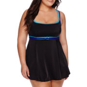 Robby Len by Longitude® Colorblock Double Bow Empire Swimdress - Plus