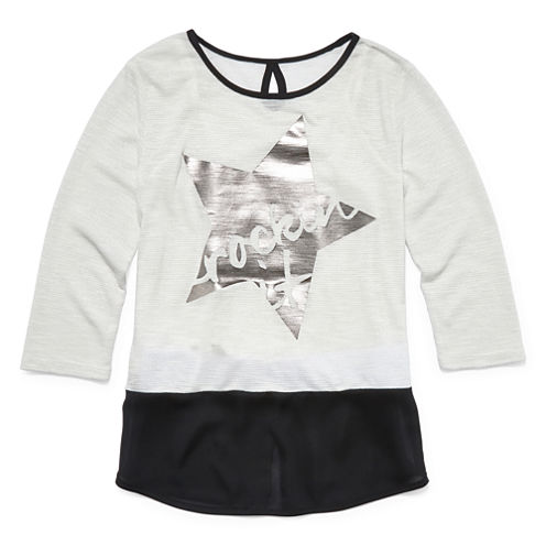 Total Girl® 3/4-Sleeve Graphic Top - Girls' 7-16 and Plus