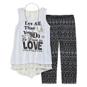 Beautees 3-pc. Graphic Tank Top, Print Leggings and Necklace - Girls 7-16 and Plus