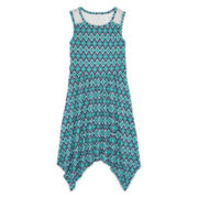Arizona Sleeveless Lace-Yoke Handkerchief-Hem Skater Dress - Girls 7-16 and Plus