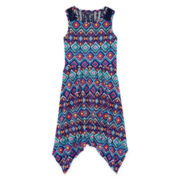 Arizona Tribal Hanky Skater Dress with Lace - Girls 7-16 and Plus