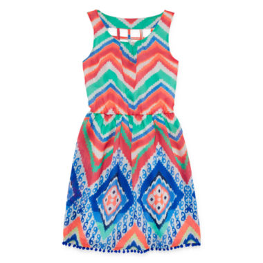 jcpenney.com | My Michelle® Sleeveless Skater Dress with Cage Back - Girls 7-16
