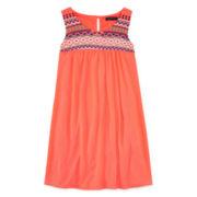 My Michelle® Sleeveless Embellished-Neck Babydoll Dress - Girls 7-16