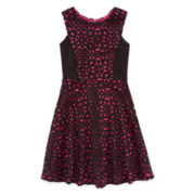 Total Girl® Sleeveless Laser-Cut Skater Dress - Girls 7-16