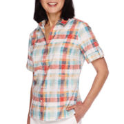 Alfred Dunner® Cozumel Short-Sleeve Burnout Plaid Shirt - Petite