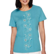 Alfred Dunner® Cozumel Short-Sleeve Embroidered-Center Tee - Petite