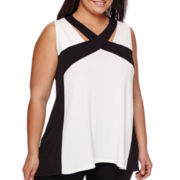 Worthington® Sleeveless Blocked Criss-Cross Trapeze Top - Plus