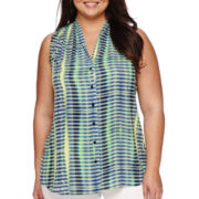 Worthington® Sleeveless High-Low Button-Front Blouse - Plus