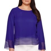 Worthington® 3/4-Sleeve Laser-Cut Trim Blouse - Plus