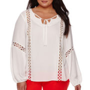 Worthington® Long-Sleeve Lace Inset Boho Peasant Top - Plus