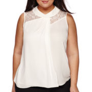 Worthington® Sleeveless Lace Mockneck Blouse - Plus