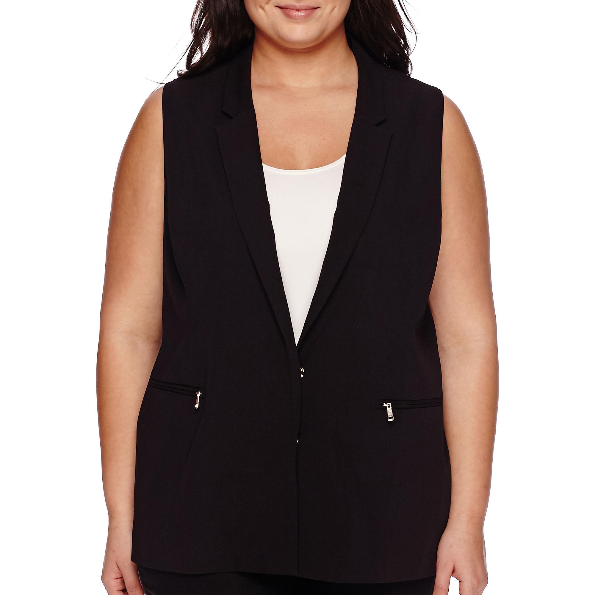 Worthington Sleeveless Blazer - Plus plus size,  plus size fashion plus size appare