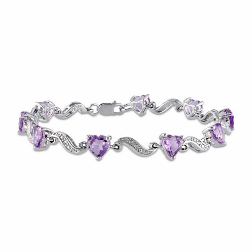 Womens 7 Inch Diamond Accent Purple Amethyst Sterling Silver Link Bracelet