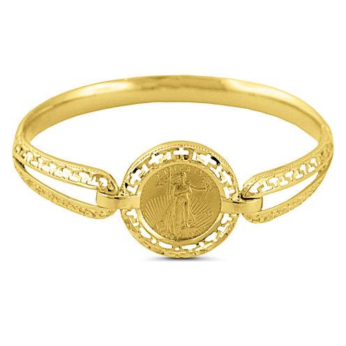 Womens 22K Gold 1/10 Oz Eagle Coin 14K Gold Bangle Bracelet