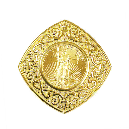 Womens 22K Gold 1/10 Oz Eagle Coin 14K Gold Pendant