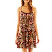 Bisou Bisou® Wood-Trim Tribal Print Dress