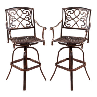 jcpenney.com | Santa Maria Set of 2 Outdoor Iron Barstools