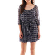 Speechless® Elbow-Sleeve Peasant Dress