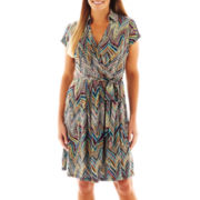 DR Collection Short-Sleeve Faux-Wrap Dress