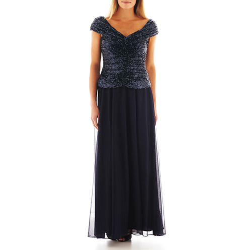 Jackie Jon Off-the-Shoulder Sequin Bodice Gown