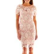 Jackie Jon Short-Sleeve Lace Shift Dress