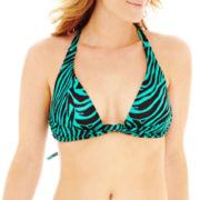 Bisou Bisou® Zebra Print Banded Pushup Halter Bra Swim Top
