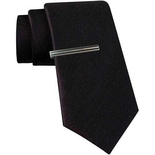 JF J. Ferrar® Solid Glitter Tie and Tie Bar Set - Slim
