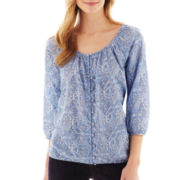 St. John's Bay® 3/4-Sleeve Button-Front Paisley Peasant Top