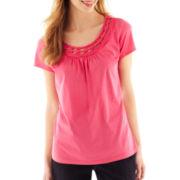 St. John's Bay® Embellished Short-Sleeve Top