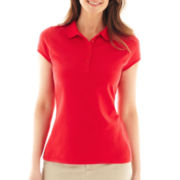 Liz Claiborne Short-Sleeve Solid Polo Shirt