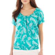 St. John's Bay® Short-Sleeve Smocked Paisley Peasant Top