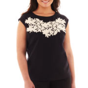 Worthington® Lace-Bib Woven Top - Plus