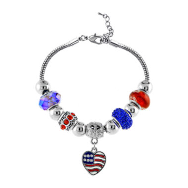 jcpenney.com | Dazzling Designs™ Silver-Plated American Flag Bracelet