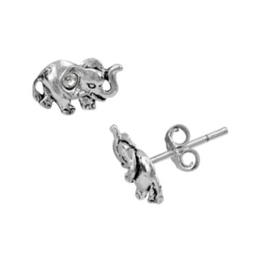 jcpenney.com | itsy bitsy™ Crystal Sterling Silver Elephant Stud Earrings